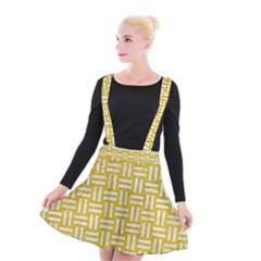 Woven1 White Marble & Yellow Denim Suspender Skater Skirt