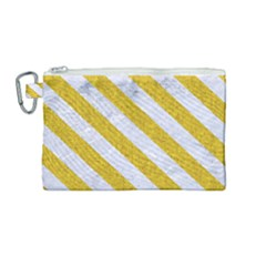 Stripes3 White Marble & Yellow Denim Canvas Cosmetic Bag (medium)