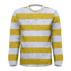 Stripes2white Marble & Yellow Denim Men s Long Sleeve Tee