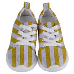 Stripes1 White Marble & Yellow Denim Kids  Lightweight Sports Shoes