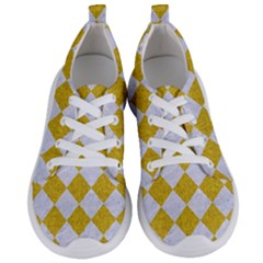 Square2 White Marble & Yellow Denim Women s Lightweight Sports Shoes