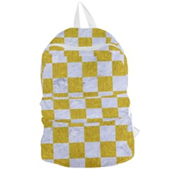Square1 White Marble & Yellow Denim Foldable Lightweight Backpack