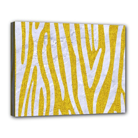 Skin4 White Marble & Yellow Denim (r)skin4 White Marble & Yellow Denim (r) Canvas 14  X 11