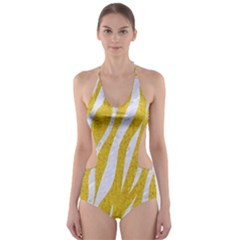 Skin3 White Marble & Yellow Denim Cut Out One Piece Swimsuit