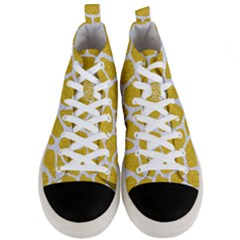 Skin1 White Marble & Yellow Denim (r) Men s Mid Top Canvas Sneakers