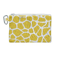 Skin1 White Marble & Yellow Denim (r) Canvas Cosmetic Bag (large)