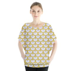 Scales3 White Marble & Yellow Denim (r) Blouse
