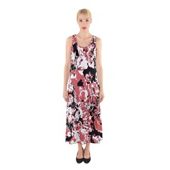Textured Floral Collage Sleeveless Maxi Dress