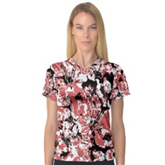 Textured Floral Collage V Neck Sport Mesh Tee
