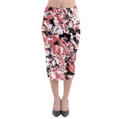Textured Floral Collage Midi Pencil Skirt