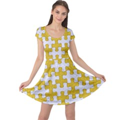 Puzzle1 White Marble & Yellow Denim Cap Sleeve Dress