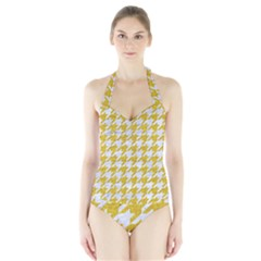 Houndstooth1 White Marble & Yellow Denim Halter Swimsuit