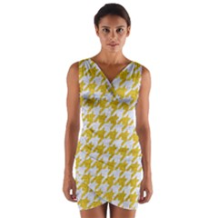 Houndstooth1 White Marble & Yellow Denim Wrap Front Bodycon Dress