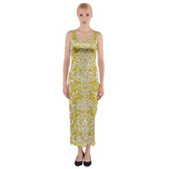 Damask2 White Marble & Yellow Denimhite Marble & Yellow Denim Fitted Maxi Dress