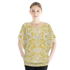 Damask2 White Marble & Yellow Denimhite Marble & Yellow Denim Blouse