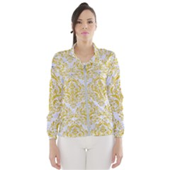 Damask1 White Marble & Yellow Denim (r) Wind Breaker (women)