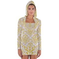 Damask1 White Marble & Yellow Denim (r) Long Sleeve Hooded T Shirt