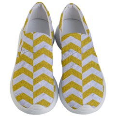 Chevron2 White Marble & Yellow Denim Women s Lightweight Slip Ons