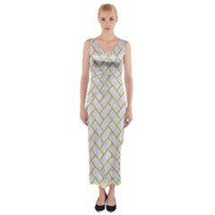 Brick2 White Marble & Yellow Denim (r) Fitted Maxi Dress