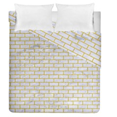 Brick1 White Marble & Yellow Denim (r) Duvet Cover Double Side (queen Size)
