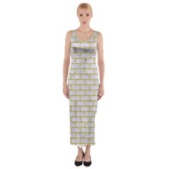 Brick1 White Marble & Yellow Denim (r) Fitted Maxi Dress