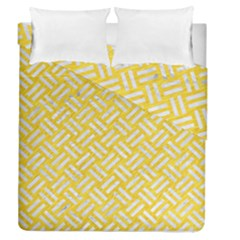 Woven2 White Marble & Yellow Colored Pencil Duvet Cover Double Side (queen Size)