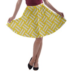 Woven2 White Marble & Yellow Colored Pencil A Line Skater Skirt