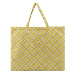 Woven2 White Marble & Yellow Colored Pencil Zipper Large Tote Bag