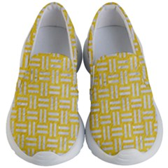 Woven1 White Marble & Yellow Colored Pencil Kid s Lightweight Slip Ons