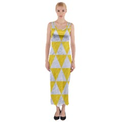 Triangle3 White Marble & Yellow Colored Pencil Fitted Maxi Dress