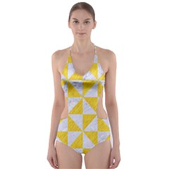 Triangle1 White Marble & Yellow Colored Pencil Cut Out One Piece Swimsuit