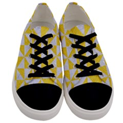 Triangle1 White Marble & Yellow Colored Pencil Men s Low Top Canvas Sneakers