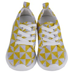 Triangle1 White Marble & Yellow Colored Pencil Kids  Lightweight Sports Shoes