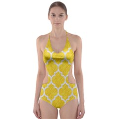 Tile1 White Marble & Yellow Colored Pencil Cut Out One Piece Swimsuit