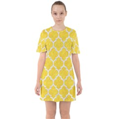 Tile1 White Marble & Yellow Colored Pencil Sixties Short Sleeve Mini Dress