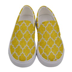 Tile1 White Marble & Yellow Colored Pencil Women s Canvas Slip Ons