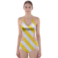 Stripes3 White Marble & Yellow Colored Pencil Cut Out One Piece Swimsuit