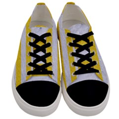 Stripes2white Marble & Yellow Colored Pencil Men s Low Top Canvas Sneakers