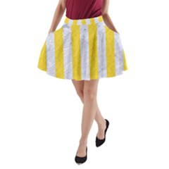 Stripes1 White Marble & Yellow Colored Pencil A Line Pocket Skirt