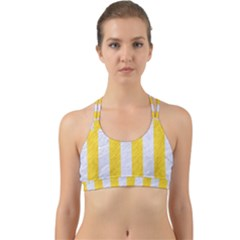 Stripes1 White Marble & Yellow Colored Pencil Back Web Sports Bra