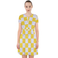 Square1 White Marble & Yellow Colored Pencil Adorable In Chiffon Dress