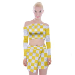Square1 White Marble & Yellow Colored Pencil Off Shoulder Top With Mini Skirt Set