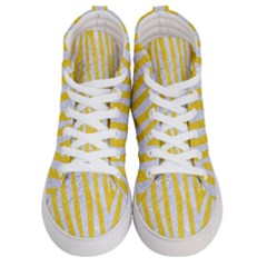 Skin4 White Marble & Yellow Colored Pencil (r) Women s Hi Top Skate Sneakers