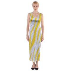 Skin3 White Marble & Yellow Colored Pencil (r) Fitted Maxi Dress