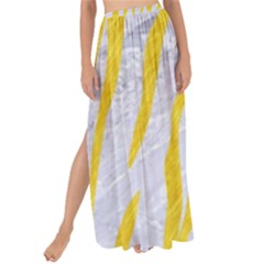 Skin3 White Marble & Yellow Colored Pencil (r) Maxi Chiffon Tie Up Sarong