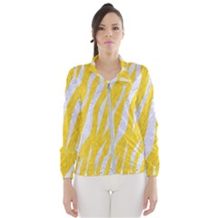 Skin3 White Marble & Yellow Colored Pencil Wind Breaker (women)