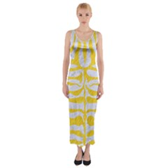 Skin2 White Marble & Yellow Colored Pencil (r) Fitted Maxi Dress