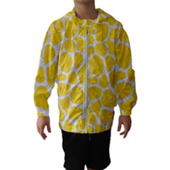 Skin1 White Marble & Yellow Colored Pencil (r) Hooded Wind Breaker (kids)