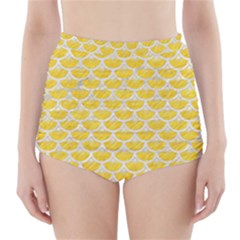 Scales3 White Marble & Yellow Colored Pencil High Waisted Bikini Bottoms