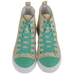 Scales2 White Marble & Yellow Colored Pencil (r) Women s Mid Top Canvas Sneakers
